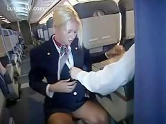 Busty blonde stewardess sucking her customer on plane