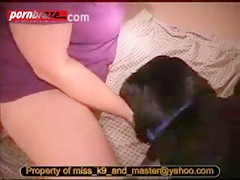 Fatty woman sucking and blowjob a dog dick before lets him licking pussy