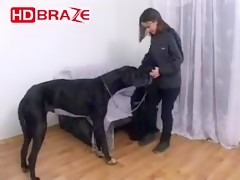 Horny chick takes a red dog cock into her tight cunt