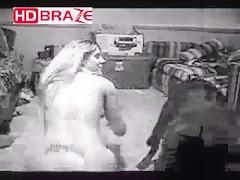 A big black dog fucking girl in white and black HD video animal porno