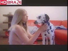 Small dog saw a real teen pussy at first time