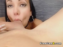 Hot Latina giving Footjob Blowjob and Deepthroat