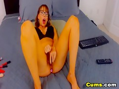 Horny Busty Nerd Rides Her Toy Dildo