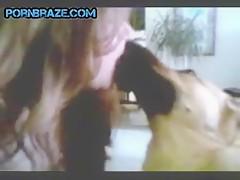 Horny girl fuck dog free at home