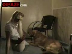 Showing her cunt and fucking it by dog sex