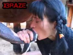Brunette MILF giving Cock Horse Deep Inside Mouth
