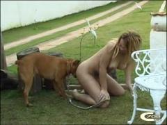 Bitchs dog sex party outdoor