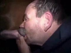 Dirty guy deepthroat sucking horse's dick