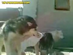 babe Mistress and her dog fucking on the bed