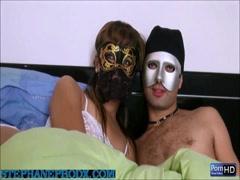 Amateur couple wear a mask fucking cam