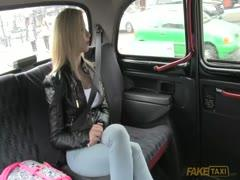 Dirty Blonde whore sucking big cock by fake tits
