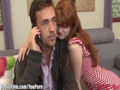 Young redhead slut ass fucked by her step father