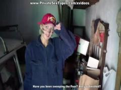Dirty blonde teen MILF gets fucked at garage