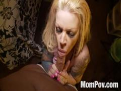 Big tits blonde sucking deep throat