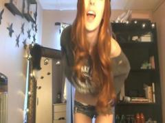 American teen brunette teasing in front of webcam