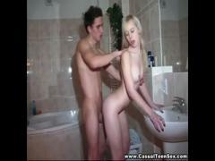 Teeny blonde Russian enjoy fucking BF in bathtub