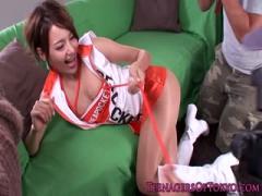 Modeling japanese Lovely Lovelyese Sucking Teen sucking three Big Cocks - HD Braze