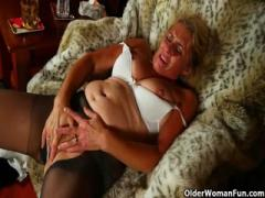 Busty Older Blonde Rubs Her Pussy While Wearing Leggings