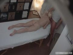 Blonde girl feel orgasm by massage happy ending