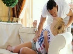 Russian teen girl opens her legs to rubbing her cunt