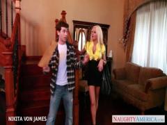 Salacious blonde Nikita Von James swallows big cock