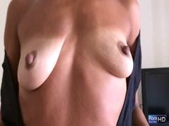 Old girl shows her small tits