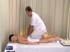 Oiled up and fucking guys at massage parlor