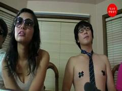 Asian couple casting have sex in interview