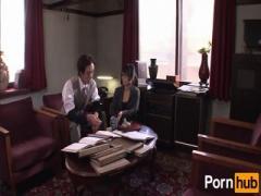 Lustful secretary sexy in glasses sucking deepthroat her boss