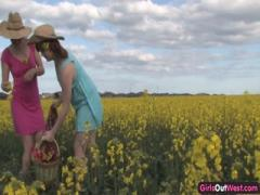 Natural Lesbian Girls on a Canola Field