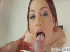 Big ass slut cum in mouth after anal sex play