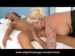 Beauty blonde babe lesbian massage