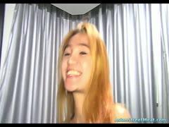 Asian teen whore on a leash loves cum on face