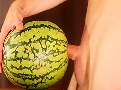 water melon cum - fucking a melon and cumming