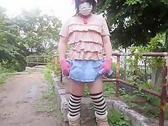 Amateur Japanese Teen CD outdoor jacking